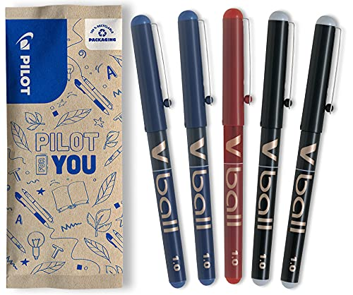 Pilot V-Ball - Juego de 5 bolígrafos, color azul, negro y rojo