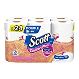 Scott ComfortPlus Toilet Paper, 12 Double Rolls (Equal to 24 Regular Rolls), Septic Safe Toilet Paper