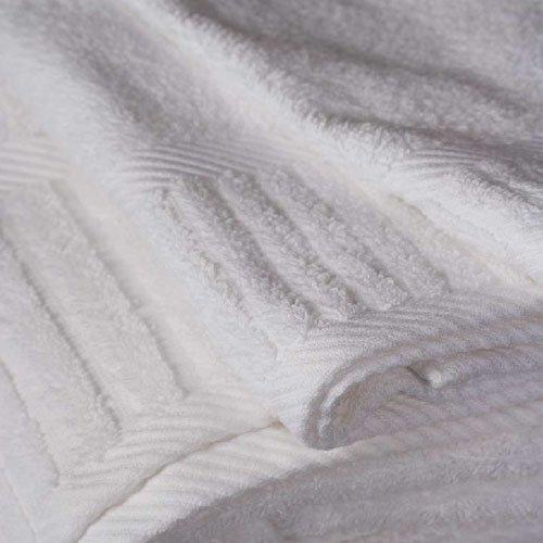 Oxford Hotel Signature Bath Towels 27x54 100% Ringspun Cotton w/Piano Design Dobby Borders & Dobby Hemmed White 17 Lb/dz