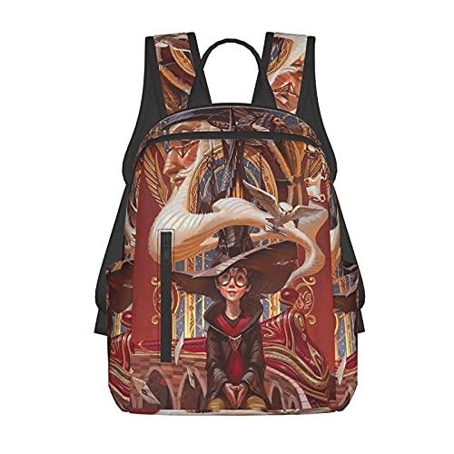 Mochila escolar para niños/niñas y adolescentes divertida impresión 3d Ha-Rry Poster Po_Tter moda senderismo portátil mochila, Negro 7, Talla única