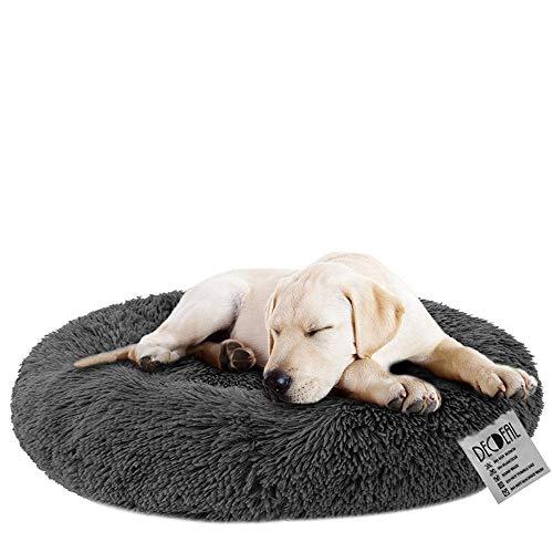 Cama para Perros y Gatos Mascotas Calentito Cojín Redondo Suave de Felpa para Perros Cachorros Gatitos Cama Impermeable Antideslizante Lavable a Máquina Duradera (80cm Gris Oscuro)