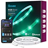 Govee 50ft LED Strip Lights, Bluetooth RGB LED Lights with App Control, Bright 5050 LEDs, 64 Scenes and Music Sync Lights Strip for Bedroom, Living Room, Kitchen, Party, ETL Listed Adapter