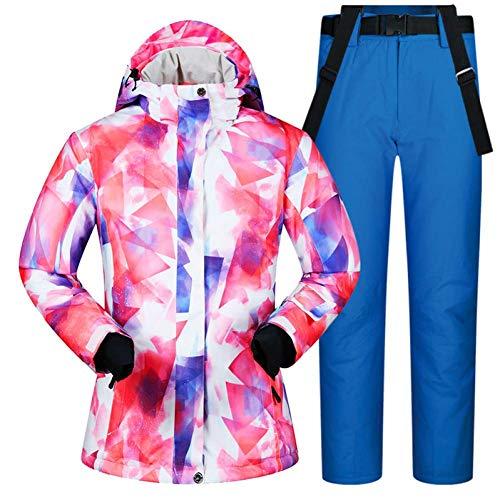 BCOGG Combinaison de Ski Femmes Femme Coupe-Vent Étanche Hiver Ensembles Neige Veste Et Pantalons Ski Et Snowboarding Costumes XL Bleu Foncé