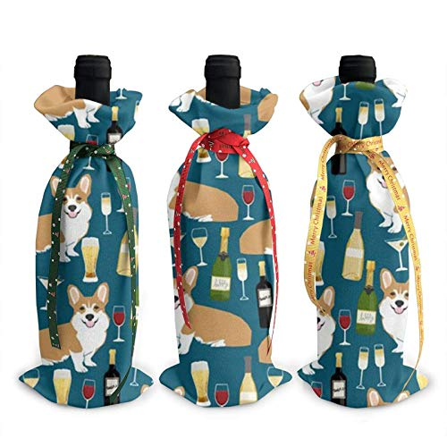 3 bolsas de vino, corgis y bolsa de Navidad de vino para bodas, regalos de fiesta, suministros de Navidad, vacaciones y vino.