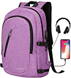 Laptop Backpack,Travel Computer Backpacks for Women & Men,Anti Theft Water Resistant Colleg Bookbag,Slim Business Backpack w/USB Charging Port Fits up to15.6 Inch Laptop,Purple
