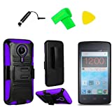 Holster Belt Clip + Hybrid Cover Phone Case + Extreme Band + Stylus Pen + Pry Tool for ZTE Quest N817 Virgin Assurance QLink N-817 Legacy (Holster Belt Clip Black/Purple)