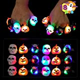 18 Pcs Spooky Fashion Halloween Led Light Up Rings Glow in the Dark for Halloween Party Favor Supplies Trick or Treat Gift Set