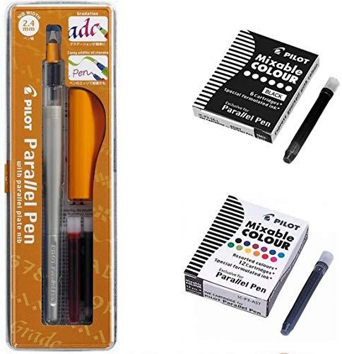"""Set con penna Pilot """"Parallel Pen"""" 2,4 mm +1 scatola con 12 cartucce di inchiostro di colori assortiti + 1 scatola con 6 cartucce nere + 1 righello segnalibro in legno Blumie"""