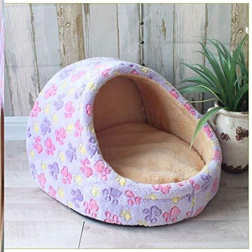 Cama para Perros de Felpa Suave y cálida Cama para Perros Cama para Dormir mullida sofá para Mascotas Perros pequeños y medianos de Varios tamaños -Huellas Azules y moradas_Vuela-Salto-36 * 35 * 25