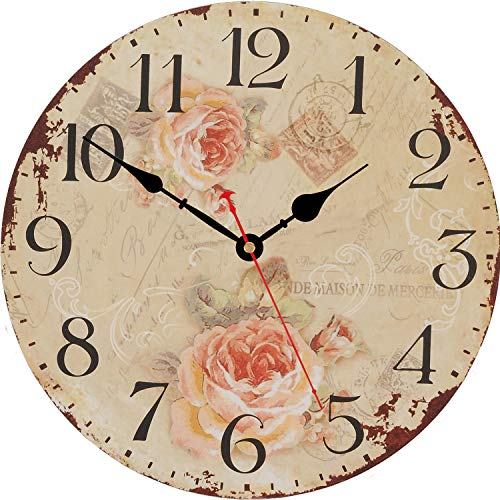 WISKALON Home Decor Clock, Retro Arabic Numerals Silent Non-Ticking Wall Clock Quality Quartz Wooden Clocks Decorative for Living Room, Bedrooms, Kitchen and Office 14 Inch - Rose Flowers Clock