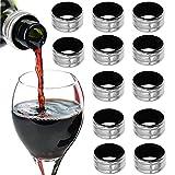12 Stück Edelstahl Weinring, Tropf-Stop Weinring, Bar Craft Tropfring für Wein, für Flaschen Weinflaschen Halsbänder Weinzubehör für Home Bar Restaurant