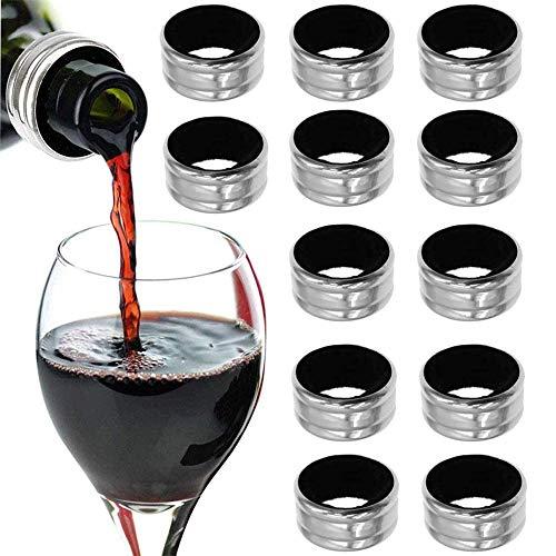 ysister 12 Pezzi Anello del Vino, Anello salvagoccia in Acciaio per Vino, Collare Bottiglia di Vino, Acciaio Inox a Prova di Tenuta Accessori Vino, per Bar Ristorante a casa