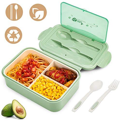 YIKEF Caja Bento Lunch Box Fiambrera Bento 1400 ml 3 Compartimentos 2 Capas con 1 Tenedor y 1 Cuchara,Apto para Microondas Y Lavavajillas | Duradero Saludable Y Apto para Adultos Y Niños