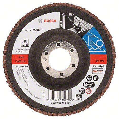 Bosch 2608605450 - Disco lamellare per metallo 'Best for metal' per smerigliatrice angolare, Grana 40, ø disco 115 mm, Bombato