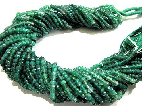 Shree_Narayani Natural Verde Onyx Sombreado Rondelle Cuentas facetadas 3-4mm Strand 13' Long Beads Precios al por mayor Fabricación de joyas Cuentas de piedra de nacimiento 1 hebra