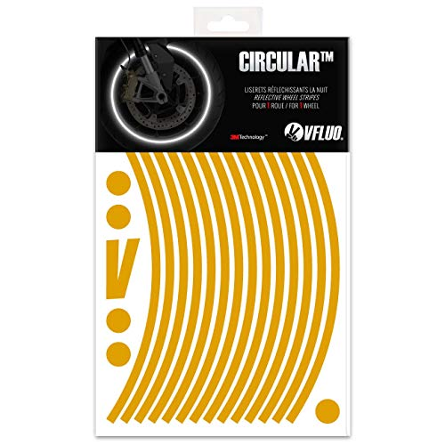 VFLUO Circular, Kit de Cintas, Rayas Retro Reflectantes para Llantas de Moto (1 Rueda), 3M Technology, Anchura Normal : 7mm Oro