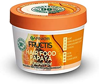 GARNIER Fructis Hair Food Papaya Maschera, Papaya Riparatrice, 390 Millilitri