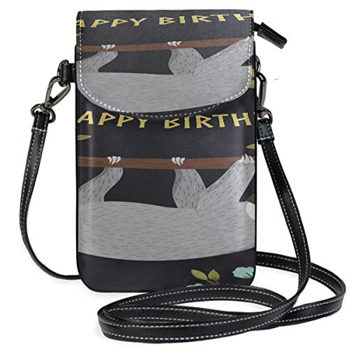 Leather Travel Purse Crossbody Happy Birthday Card With Cute Animal Best Wish Print Bag Mobile Phone Phone Bag For Boys Purse Wallet Travel Passport Bag Handbags For Women