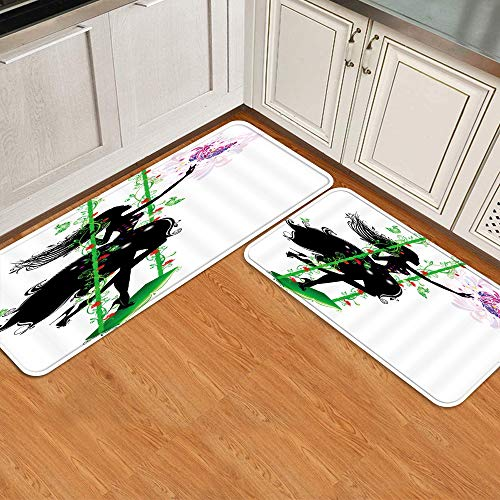 Juego de alfombrillas de cocina de 2 piezas,Color Mariposa Chica Columpio Diseño Floral H, Alfombra antideslizante con respaldo para alfombra de cocina, lavable y duradera, alfombra de corredor