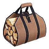 Bolsa de almacenamiento de leña para leña de leña, bolsa de lona encerada, madera de fuego, transporte de heno, para chimenea, almacenamiento de leña, fácil de llevar