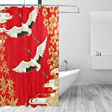 cpyang Japanische Kraniche Cherry & Polyester-Maple Leaf-Vorhänge Dusche Wasserdicht & Schimmel beständig Bad Vorhang für Badezimmer Dekoration Mit 12Vorhang Haken 182,9x 182,9cm