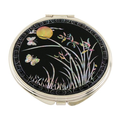 Mother of Pearl Orchid Flower and Yellow Moon Design Double Compact Magnifying Cosmetic Makeup Purse Beauty Pocket Mirror by Antique Alive