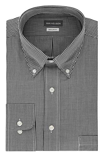 Van Heusen Men's Regular Fit Gingham Button Down Collar Dress Shirt, Black, X-Large