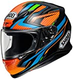 Shoei Casco integral NXR STAND TC-8, color negro, naranja y azul, talla L