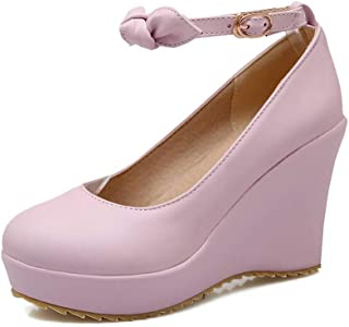 BalaMasa Womens APL11915 Pu Wedge Heels