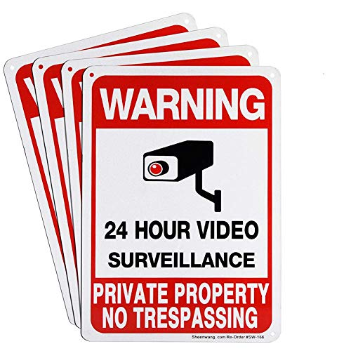 Sheenwang 4-Pack Private Property No Trespassing Sign, Video Surveillance Signs Outdoor, UV Printed .040 Mil Rust Free Aluminum 10 x 7 in, Security Camera Sign for Home, Business, Driveway Alert, CCTV