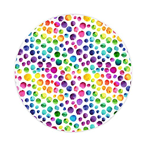Eranova Round Mouse Pad with Stitched Edges, Colorful Dots Mouse Mat Non-Slip Rubber Base Watercolor Rainbow Spots Mousepad for Kids Girls Women PC Laptop, 8,7x8.7x0.12 inches