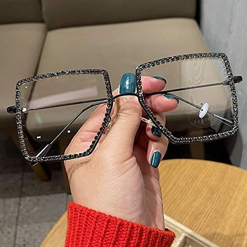 Secuos Moda Gafas De Sol Cuadradas Transparentes A La Moda con Montura De Metal, Gafas De Gran Tamaño para Mujer, Montura De Anteojos para Hombre, Gafas Lisas Empollonas, Tonos Transparentes 74439G