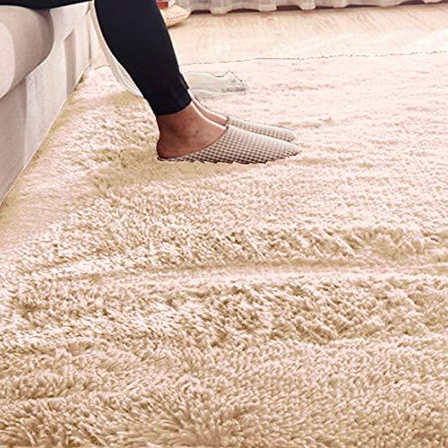 Ilios Innova Tapete Decorativo Tipo Shag 2mx3m, de Fibra Larga, Suave y Caliente Ideal para Sala, recamara, tapete para la Sala, facil de Limpiar, Material Ligera (Crema)