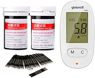 ruiruiNIE Medidor automático de glucosa en azúcar en la Sangre hogar con glucómetro de Tiras reactivas de 50 Piezas