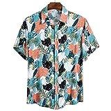 Lovely-Star Camisas de hombre hawaianas camicias casual salvaje estampado manga corta blusas tops