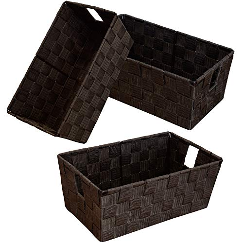 homyfort Woven Shelf Storage Tote Basket Bins Container Storage Boxes Cube Organizer with Built-in Handles for Bedroom Office Closet Clothes Kids Room Nursery 3pkBrown
