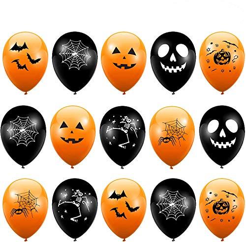 100 Globos de Latex para Fiestas de Halloween - Negros y Naranja - Decoración Fiestas