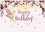Allenjoy 7x5ft Fairy Princess Birthday Backdrop Butterfly Party Floral Banner Girls Bday Cake Table Decorations Photo Booth Studio Props