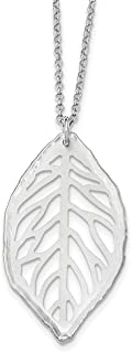 "Lex & Lu Sterling Silver Satin Cut-Out Leaf Necklace 18"""