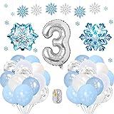 Specool frozen 3 años globos decoración cumpleaños niña, globo fiesta de globos blancos azules confeti de copos de nieve para fiesta de cumpleaños aniversario graduación centro decoración de fondo