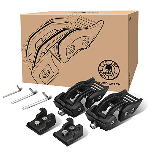 Topfire Hood Latches Aluminum Hood Catch for Jeep Wrangler JK, JKU Rubicon Sahara Sport 2007-2018, No Drilling Needed (Matte Black, 1 Pair)
