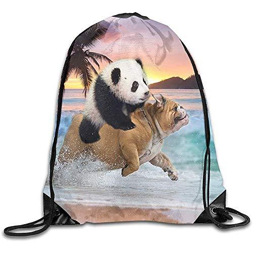 Rucksack Mit Kordelzug,Tunnelzug Gymsack,Gym Sack Beutel,String Rucksack,Lustiger Panda Riding Pug Dog,Der In Beachsports Cinch Rucksack,Reise-Schnur-Taschen,Schulschultertasche Läuft