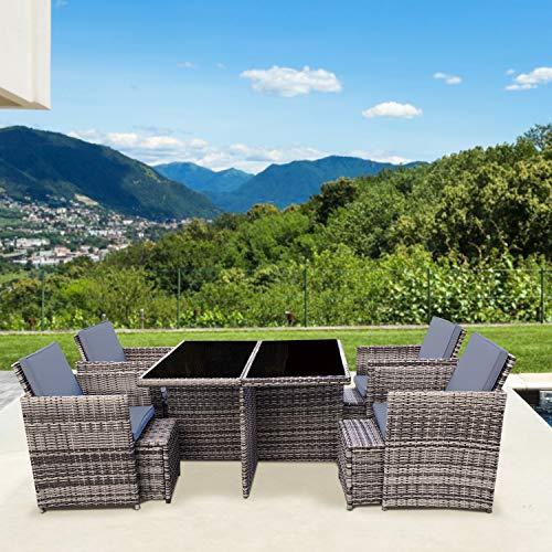 RedNeck Gartenmöbel Set 4er Sitzgruppe Dining Lounge Beige/Grau Polyrattan Aluminium Schwarzglas (Schwarzglas)
