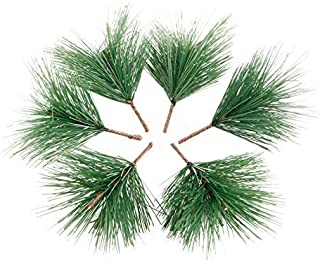 Yetaha 10 Pcs Artificial Plant Plastic Light Green Pine Needles Section for Festive Supplies Home Decoration DIY Craft