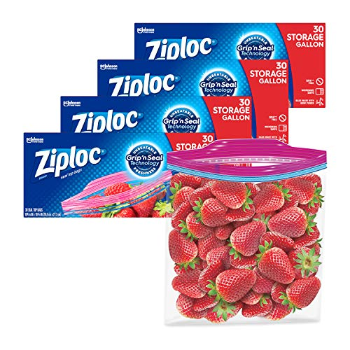 Ziploc Storage Bags with New Grip #039n Seal Technology For Food Sandwich Organization and More Gallon 30 Count Pack of 4 120 Total Bags