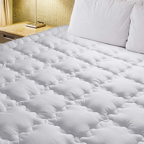 Queen Mattress Pad Cover Stretches up 8-21' Deep Pocket - Hypoallergenic Fitted Quilted Mattress Topper Pillowtop with overfilled Snow Down Alternative