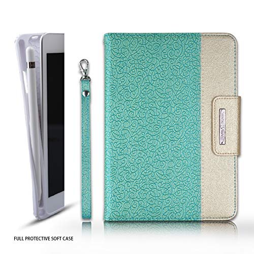 Thankscase for iPad Mini 5 2019 Case with Apple Pencil Holder, Rotating TPU Case Folio Cover with Auto Wake/Sleep, Hand Strap, Wallet Pocket, Smart Cover for iPad Mini 5th / Mini 4th Gen (Gold Jade)