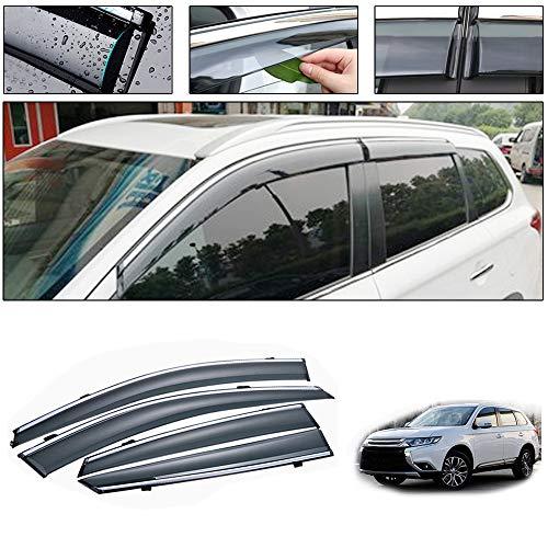 saitake Windabweiser Für Mitsubishi Outlander 2013-2020 4PCS Autofenster Visier Sonne Regen Rauchabzug Schatten Klebeband Außenvisiere