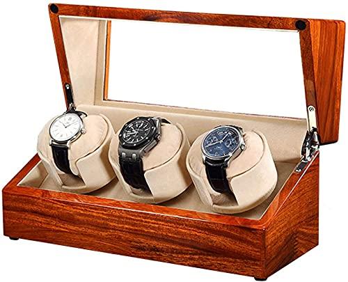YUNLILI Reloj Funda de Winder para Hombres y Mujeres, Wood Watch Shaker, Reloj automático Spinner con 3 Motor de Almacenamiento y Calidad confiable