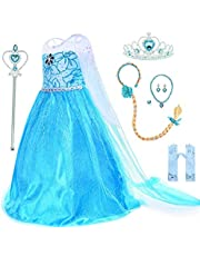 Sunshine Baby Princess Dress for Girls with Accessories, Snow Queen Girl Costumes Dress Party Cosplay Girl Tutu Clothing Set